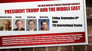 President Trump and the Middle East @ The International Center, Rm 115 | East Lansing | Michigan | United States
