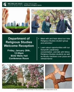 Religious Studies Welcome Reception @ B342 Wells Hall