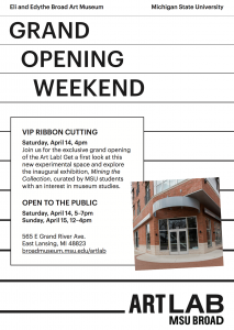 Broad Art Lab to open on April 14 and 15