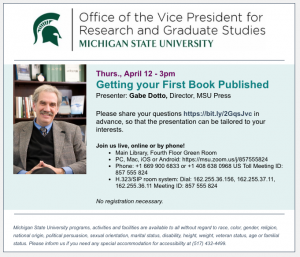 Getting Your First Book Published @ MSU Library, 4th Floor Green Rm | East Lansing | Michigan | United States
