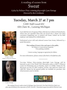 "A Reading of Scenes from ""Sweat"" @ UAW Hall Local 652 