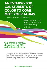 An Evening for CAL Students of Color to Come Meet Your Alums @ B Wells Atrium | East Lansing | Michigan | United States