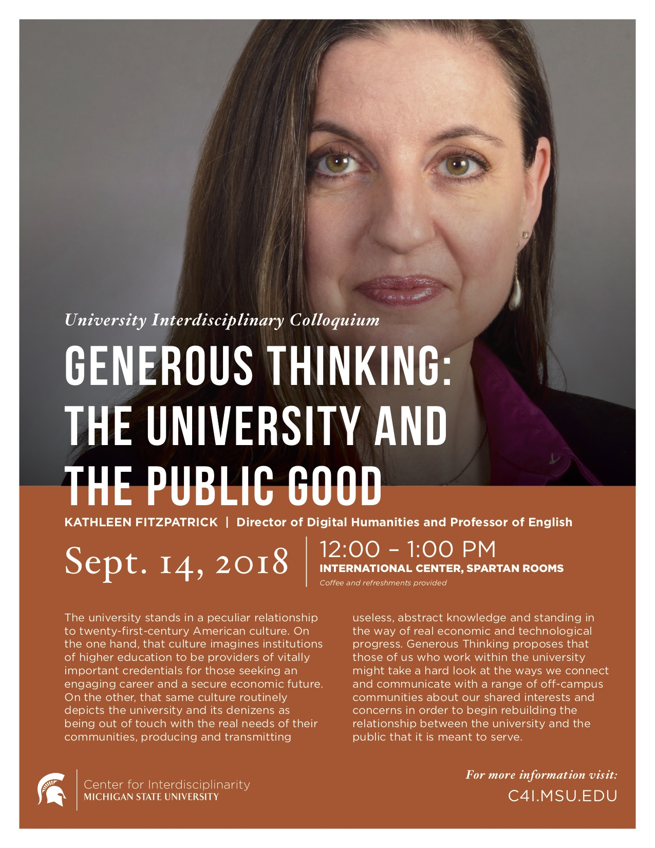 Generous Thinking: The University and the Public Good @ International Center, Spartan Rooms | East Lansing | Michigan | United States