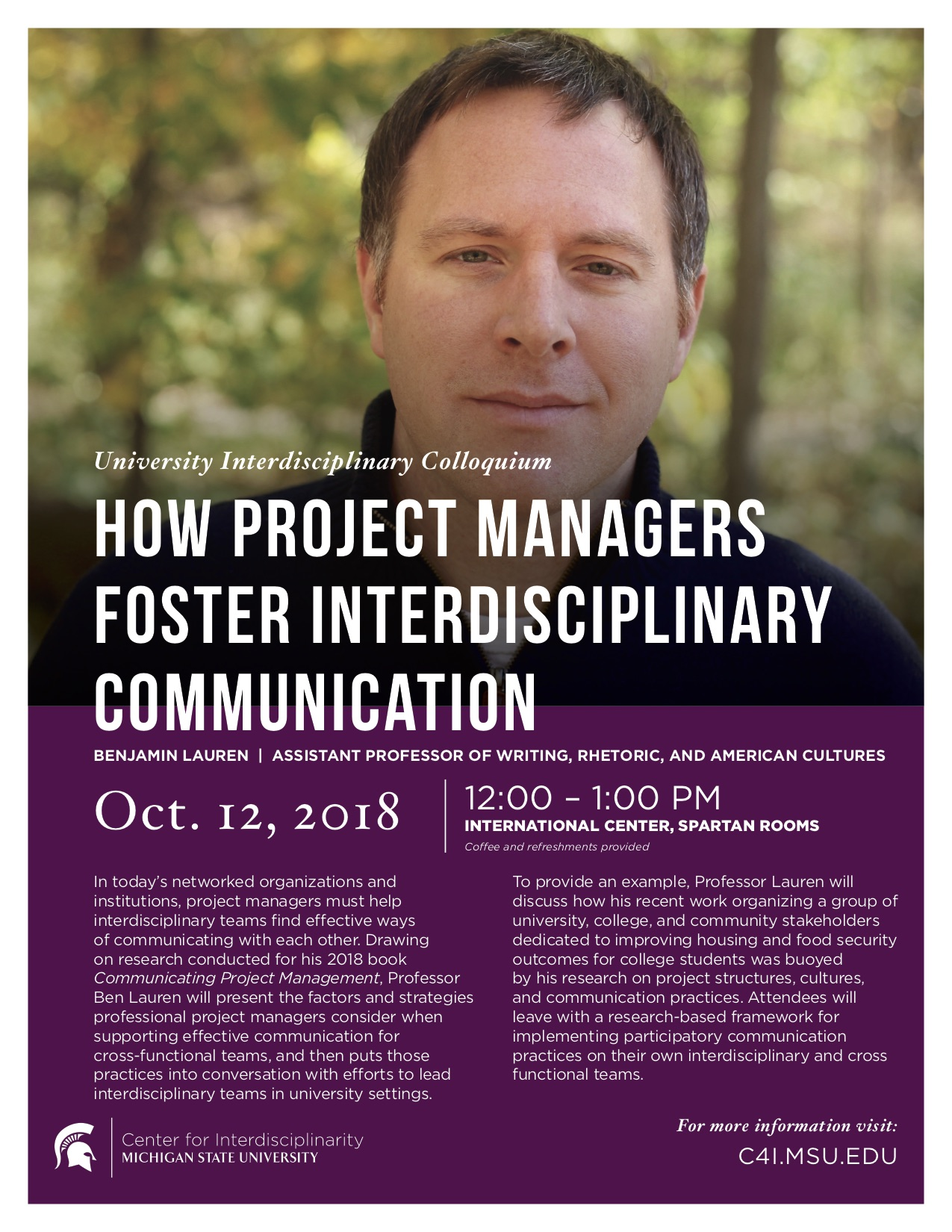 How Project Managers Foster Interdisciplinary Communication @ International Center, Spartan Rooms | East Lansing | Michigan | United States