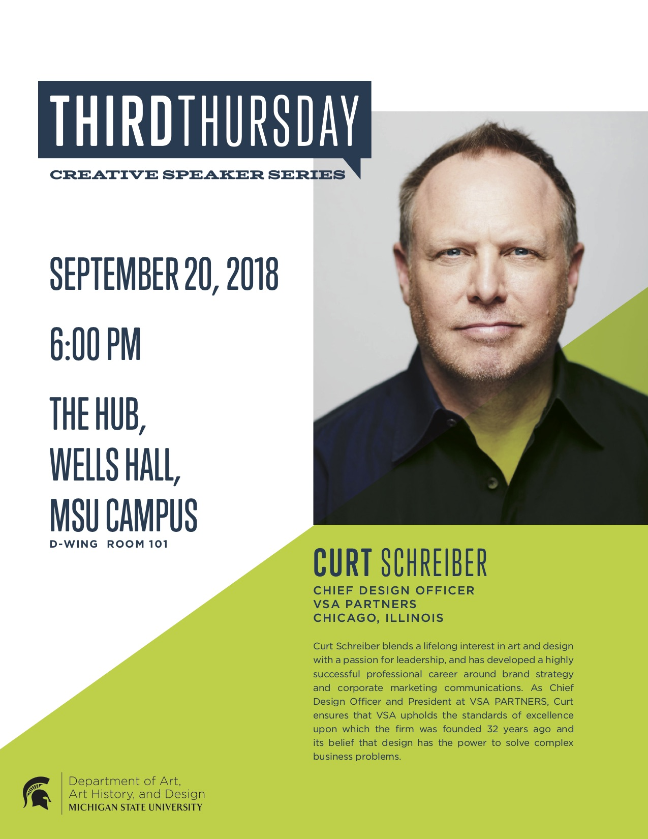 Third Thursday with Curt Schreiber, Chief Design Officer @ VSA Partners @ The Hub, D-101 Wells Hall | East Lansing | Michigan | United States