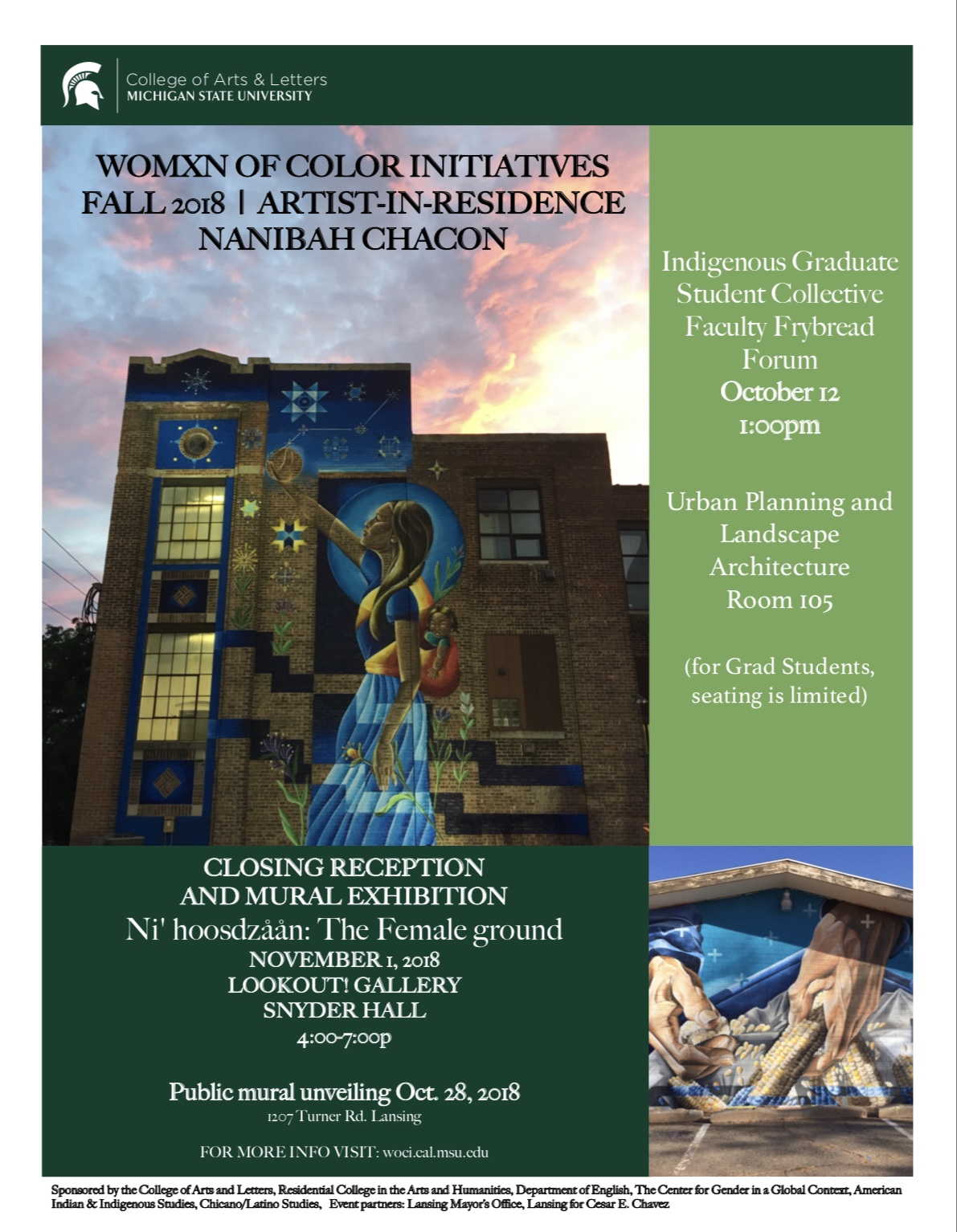 Closing Reception and Mural Exhibition for Nanibah Chacon @ Lookout! Gallery, Snyder Hall | East Lansing | Michigan | United States