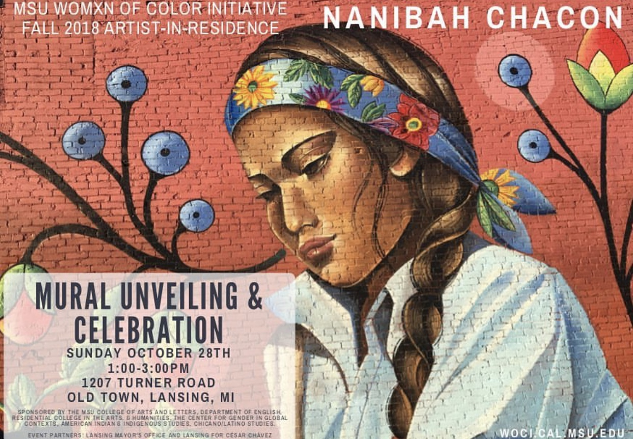 Public Mural Unveiling for WOCI Artist-In-Residence, Nanibah Chacon @ Old Town Lansing | Lansing | Michigan | United States