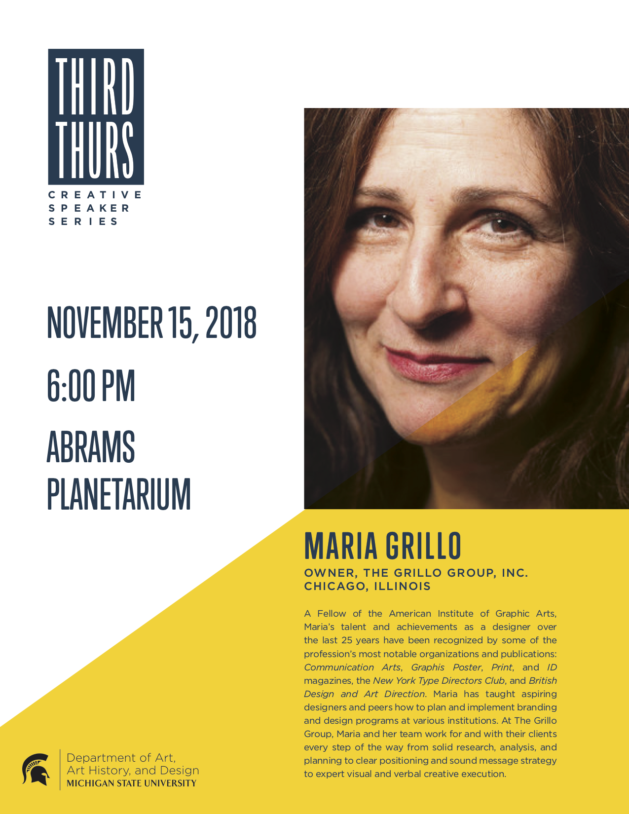 Third Thursday Creative Speaker Series Presents Maria Grillo @ Abrams Planetarium | East Lansing | Michigan | United States