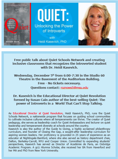 Quiet: Unlocking the Power of Introverts @ Studio 60 | East Lansing | Michigan | United States