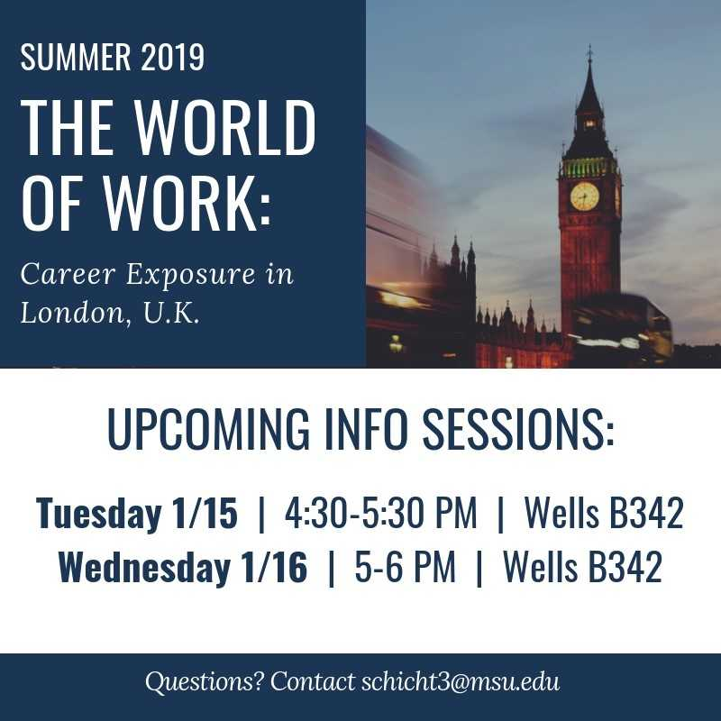 The World of Work: Career Exposure in London Info Session @ Wells Hall B342