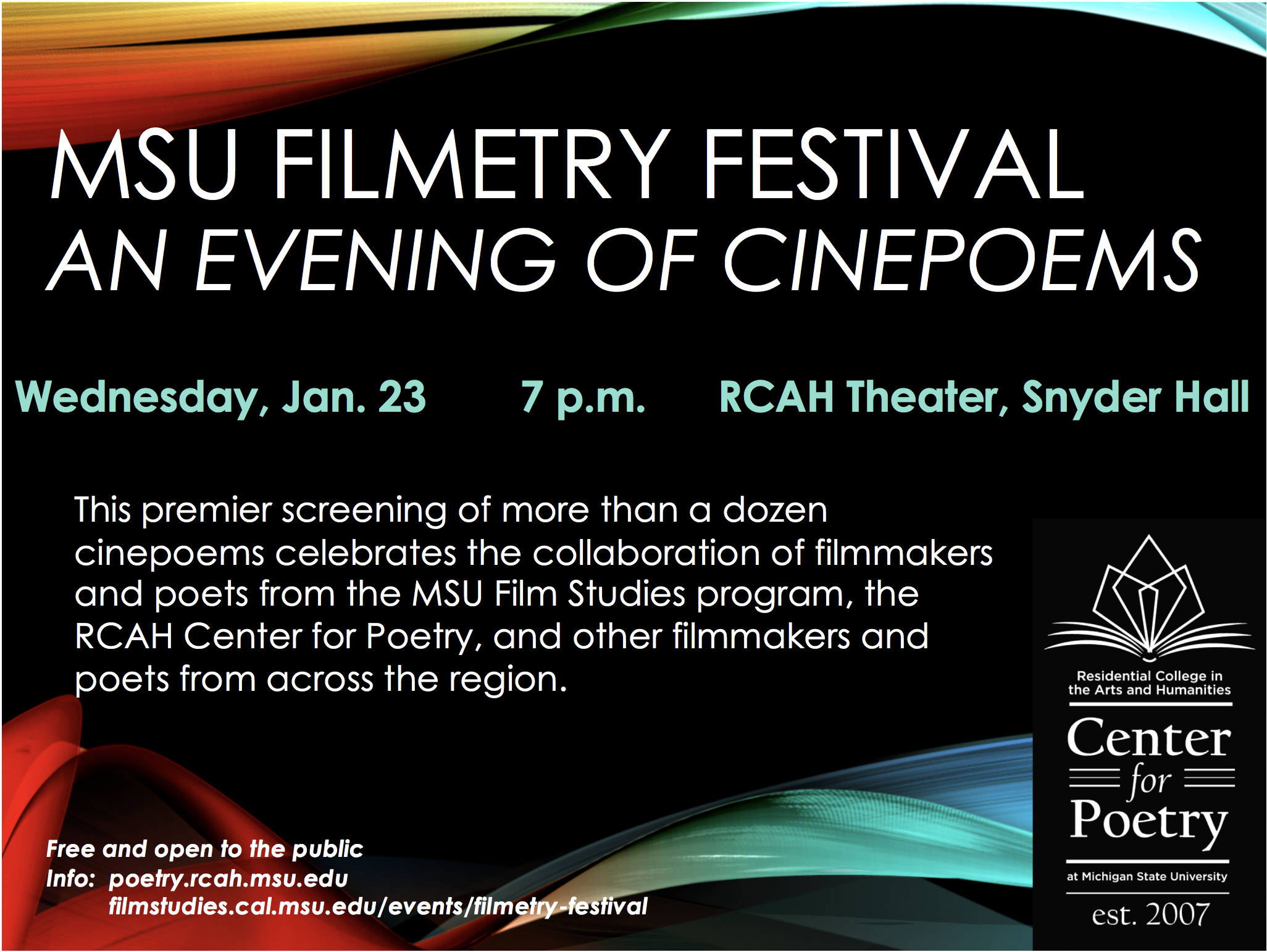 MSU Filmetry Festival: An Evening of Cinepoems @ RCAH Theater, Snyder Hall Basement | East Lansing | Michigan | United States