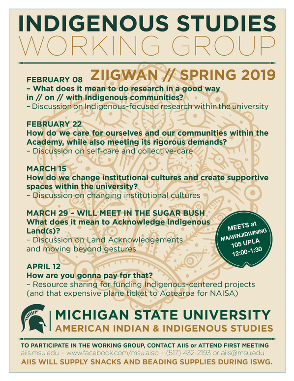 AIIS Indigenous Studies Working Group - What does it mean to do research in a good way in // on // with Indigenous communities? @ Room 105 UPLA | East Lansing | Michigan | United States
