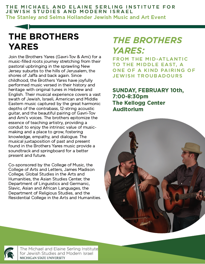 The Brother Yares: From the Mid-Atlantic to the Middle East, a One of a Kind Pairing of Jewish Troubadours @ Kellogg Center Auditorium | East Lansing | Michigan | United States