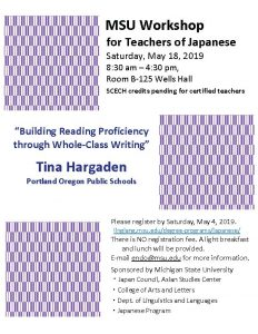 Workshop For Teachers of Japanese @ Room B-125 Wells Hall | Boone | North Carolina | United States