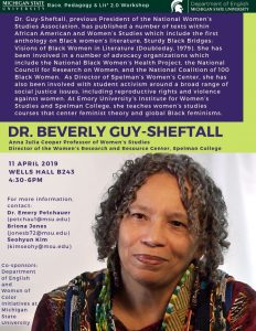 Race, Pedagogy, and Lit*: Dr. Beverly Guy-Sheftall @ Wells Hall B-243 | East Lansing | Michigan | United States