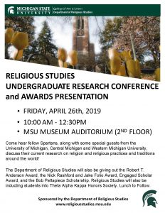 Religious Studies Undergraduate Research Conference @ MSU Museum Auditorium