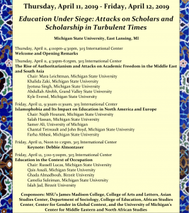 Education Under Seige: Attacks on Scholars and Scholarship in Turbulent Times @ MSU International Center, Room 303 | East Lansing | Michigan | United States