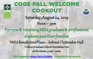 COGS Fall Welcome Cookout (for all grad students and their families!) @ Benefactors Plaza