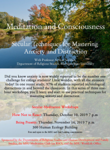 Meditation and Consciousness: How Not to React @ Human Ecology Building, Room 300