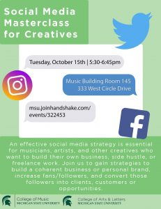 Social Media Masterclass for Creatives @ Music Building, Room 145