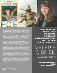 Big10 Emerging Scholar Valerie O'Brien @ Wells Hall C607 | Boone | North Carolina | United States