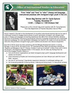 Brown Bag Seminar with Dr. Carrie Symons @ 116H Erickson Hall