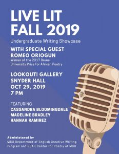 Live Lit Fall 2019 @ LookOut! Gallery Snyder Hall | East Lansing | Michigan | United States