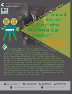 "Annual Kessler film:  ""Who Will Write Our History"" @ MSU Library Green Room (4th Floor West)"
