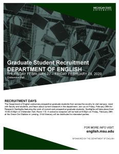 English Graduate Recruitment Days @ MSU Chittenden Hall | East Lansing | Michigan | United States