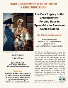 CANCELLED- The Dark Legacy of the Enlightenment: Forging Race in Spanish/Latin American Casta Painting @ B342 Wells Hall | East Lansing | Michigan | United States
