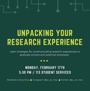 Unpacking Your Research Experience @ Student Services Building, Room 113