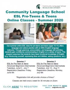 Community Language School ESL Pre-Teens & Teens Online Classes - Summer 2020 @ Online Classes | Michigan | United States