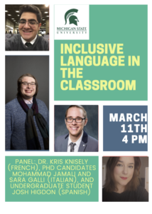 Flyer for Inclusive Language in the Classroom, March 11th, 4PM EST