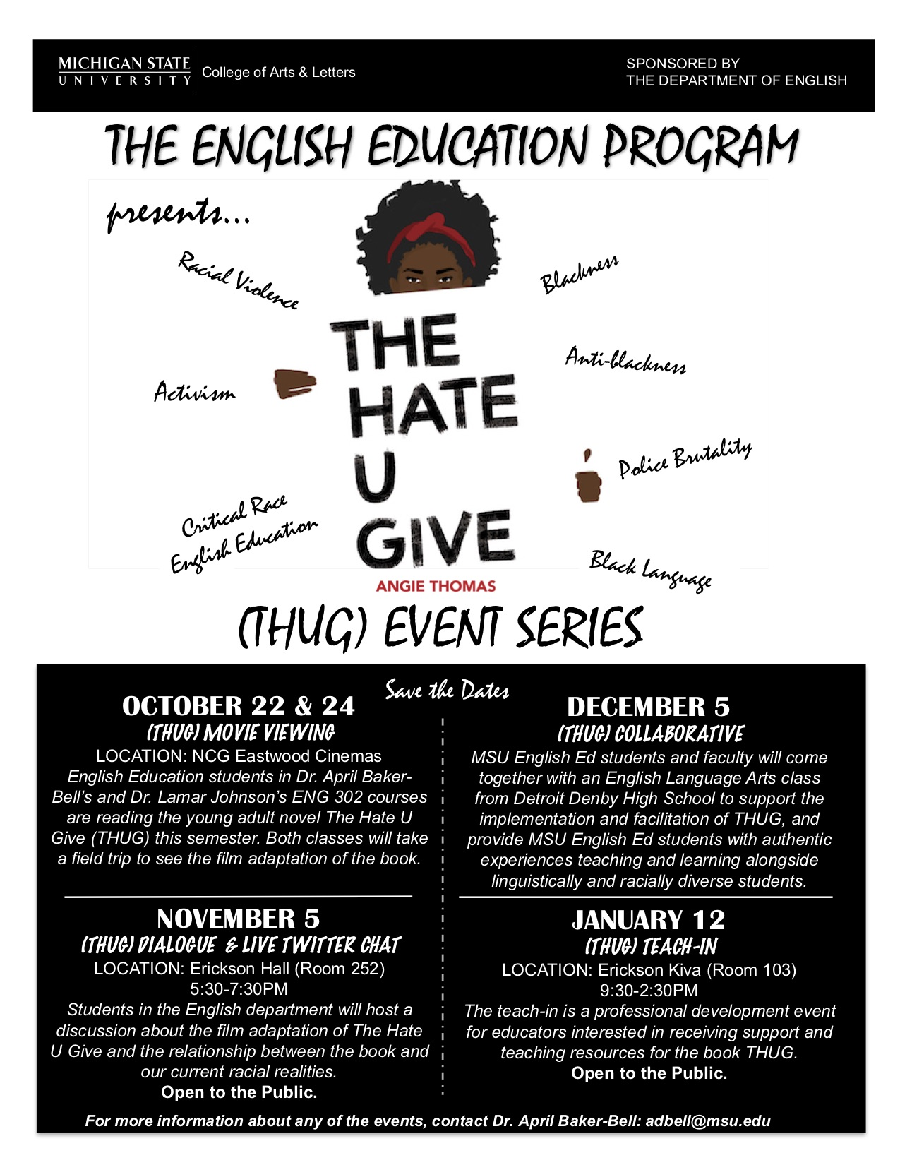 The English Education Program (THUG) Teach-In @ Erickson Kiva (Room 103) | East Lansing | Michigan | United States