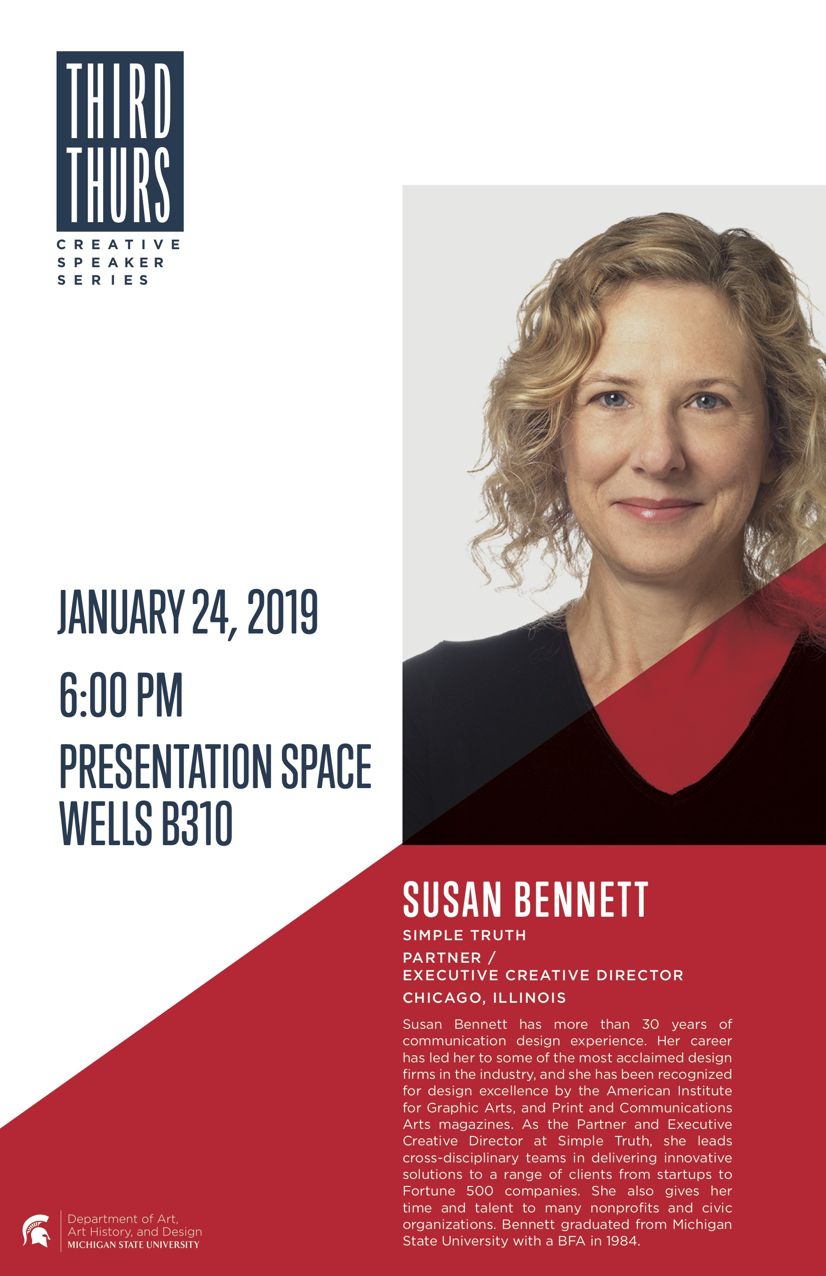 Third Thursday Creative Speaker Series: Susan Bennett @ Wells Hall, B310