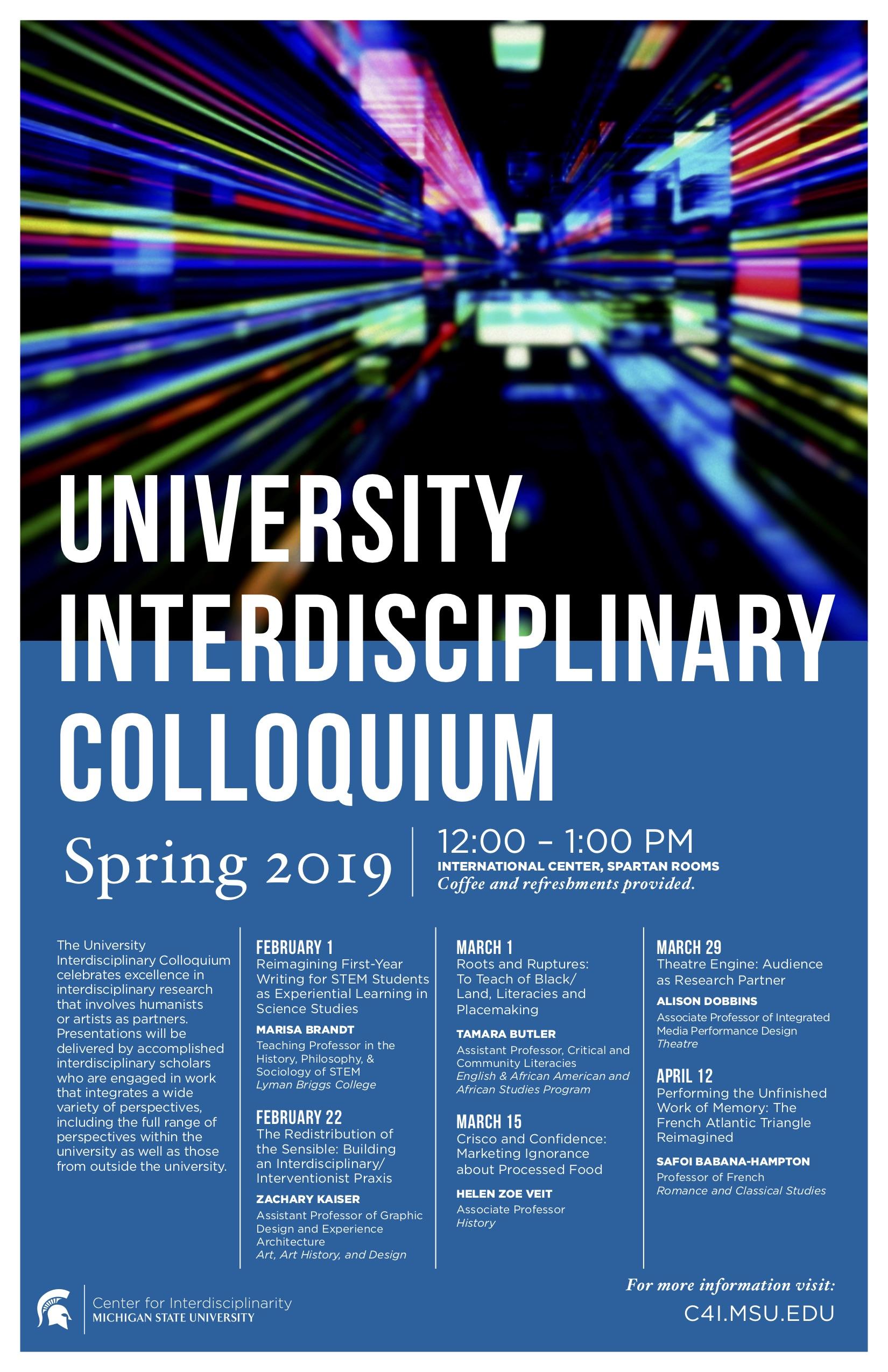 Interdisciplinary Colloquium: Tamara Butler @ International Center | East Lansing | Michigan | United States