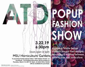 Apparel and Textile Design Pop-up Fashion Show @ North Greenhouse of the MSU Horticulture Gardens | East Lansing | Michigan | United States