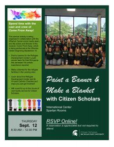 Paint a Banner & Make a Blanket @ International Center, Spartans Room