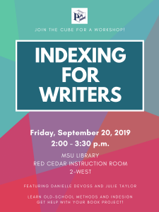 Indexing for Writers @ MSU Main Library, Red Cedar Instruction Room