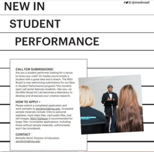 New In Student Call for Proposals & Performance @ MSU Broad Art Lab   East Lansing   Michigan   United States
