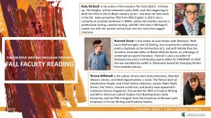 Creative Writing Fall Faculty Reading @ RCAH LookOut! Gallery   East Lansing   Michigan   United States