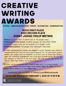 Undergraduate Creative Writing Awards with Philip Metres @ Zoom | New York | New York | United States