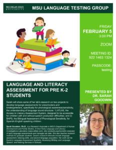 MSU Language Testing Group: Invited Speaker Dr. Sarah Goodwin @ Online Event