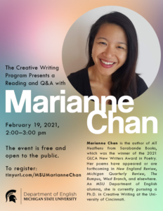 Reading and Q&A with alum Marianne Chan