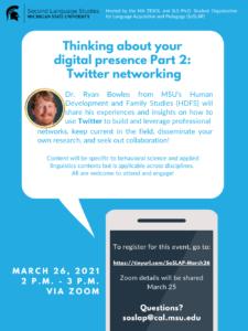 SoSLAP: Digital Presence 2: Social Networking @ Online Event