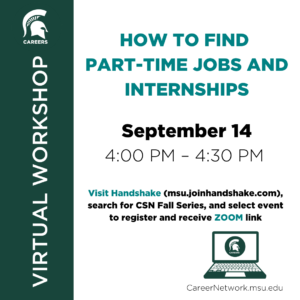 CSN Fall Series | How to Find Part-Time Jobs & Internships