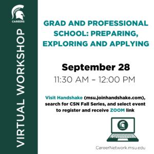 CSN Fall Series | Grad & Professional School: Preparing, Exploring, and Applying