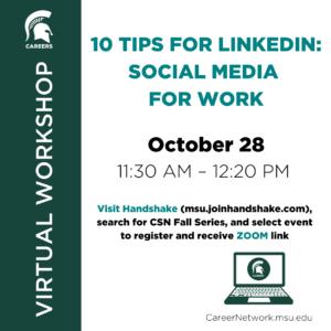 CSN Fall Series | 10 Tips for LinkedIn: Social Media for Work